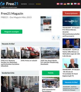 Screenshot der Webseite free21.org